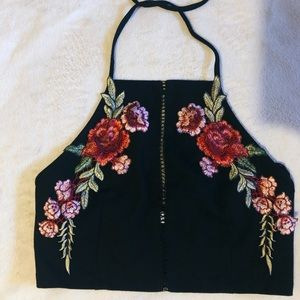 Black top with red roses
